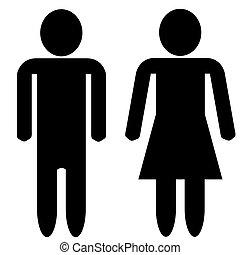 mulher, silueta, caras, -, em branco, homem