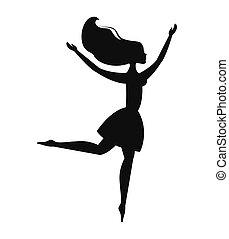 mulher, silueta, dançar, ícone