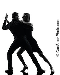 mulher, silueta, dançar, par, dançarinos, rocha, salsa,...