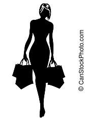 mulher, silueta, em, shopping