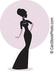 mulher, silueta, em, vestido