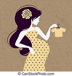 mulher, silueta, grávida, vindima, solto, bebê, casaco