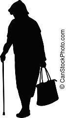 mulher, silueta, idoso, cana