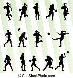 mulher, silueta, jogador, vetorial, fundo, rúgbi