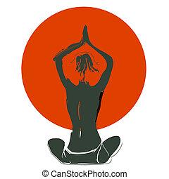 mulher, silueta, jovem, illustration:, vetorial, prática, ioga, praia, sunset.