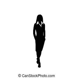 mulher, silueta, negócio, passeio, passo, vetorial, pretas,...