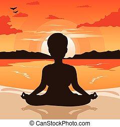 mulher, silueta, pôr do sol, ioga, alvorada, praia, ou