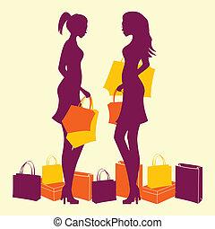 mulher, silueta, shopping