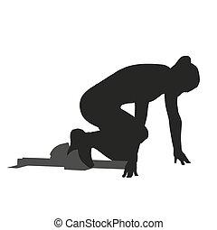mulher, silueta, sprinter, vetorial, pulos, block., começar