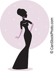 mulher, silueta, vestido