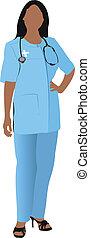 mulher, sm, enfermeira, doutor, branca