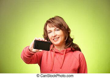 mulher, smartphone, bonito