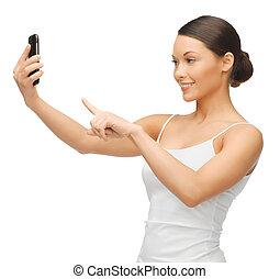 mulher, smartphone