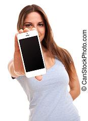 mulher, smartphone, jovem, caucasiano