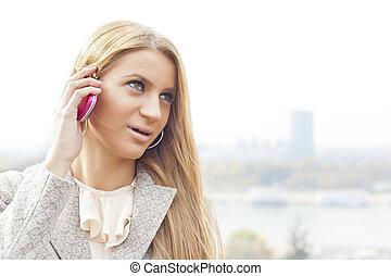 mulher, smartphone, jovem, negócio