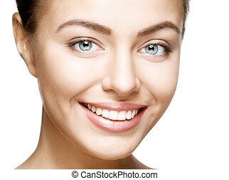 mulher, smile., dentes, whitening., dental, care.
