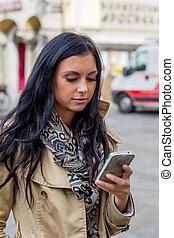 mulher, sms, escrita