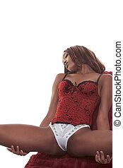 mulher, sofá, langerie, pretas, sensual, étnico, vermelho