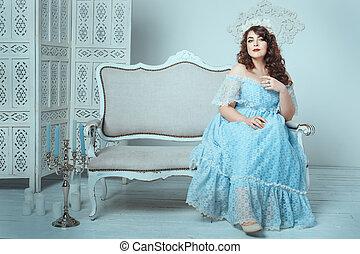 mulher, sofa., sentando