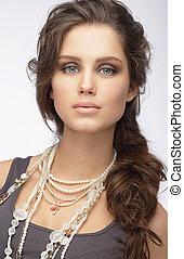 mulher, -, sofisticado, perolado, colar, ornamentação