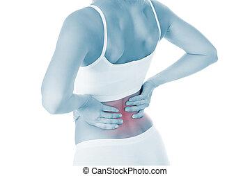 mulher, sofrimento, de, dor traseira