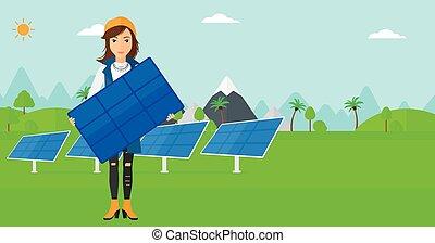 mulher, solar, panel., segurando