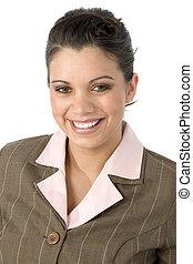 mulher sorri