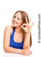 mulher sorri, retrato, mostrando, sinal, ok