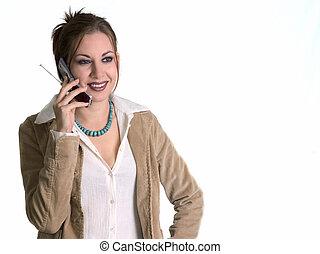 mulher sorri, telefone