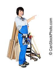 mulher sorridente, carpinteiro, fundo, branca