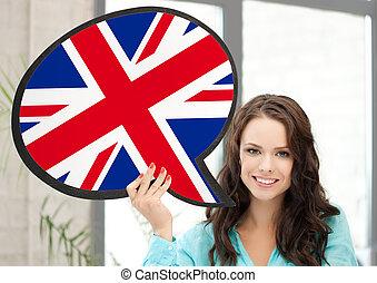 mulher sorridente, com, texto, bolha, de, bandeira britânica