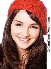 mulher sorridente, em, chapéu vermelho