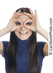 mulher sorridente, faz, dedo, óculos