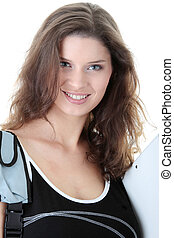 mulher sorridente, jovem, estudante