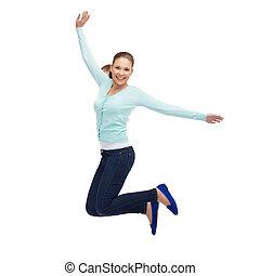 mulher sorridente, jovem, pular, ar