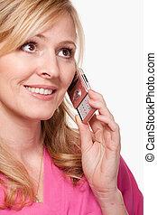 mulher sorridente, ligado, telefone pilha