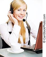 mulher sorridente, loura, escritório, fone
