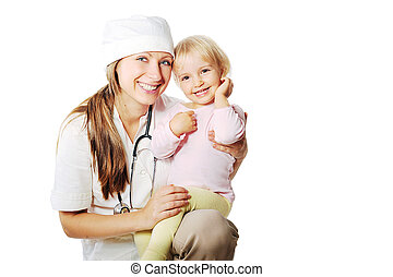 mulher sorridente, menina, doutor