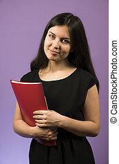mulher sorridente, menina, roxo, jovem, ficar, experiência., caderno, pretas, empregado, documents., vestido, pasta, vermelho