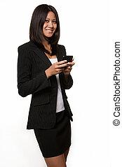 mulher sorridente, negócio