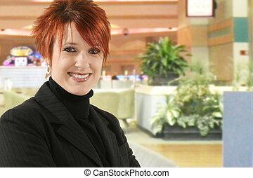 mulher sorridente, negócio, hotel