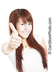mulher sorridente, polegares cima, jovem