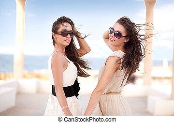 mulher sorridente, praia, dois