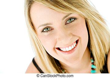 mulher sorridente, rosto