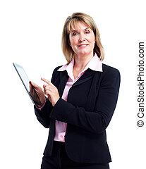mulher sorridente, tabuleta, negócio, computer.