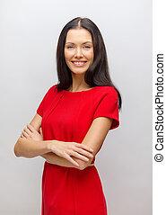 mulher sorridente, vestido, jovem, vermelho