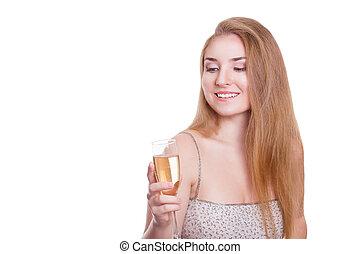 mulher sorridente, vestido, noite