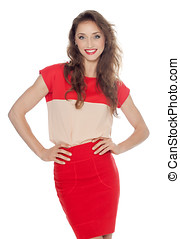 mulher sorridente, vestido, vermelho