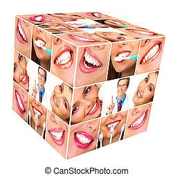 mulher, sorrizo, cubo, collage.