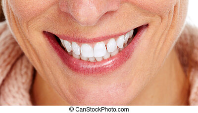 mulher, sorrizo, e, dentes